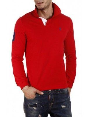 Polo custom fit rojo small pony   solapa contraste