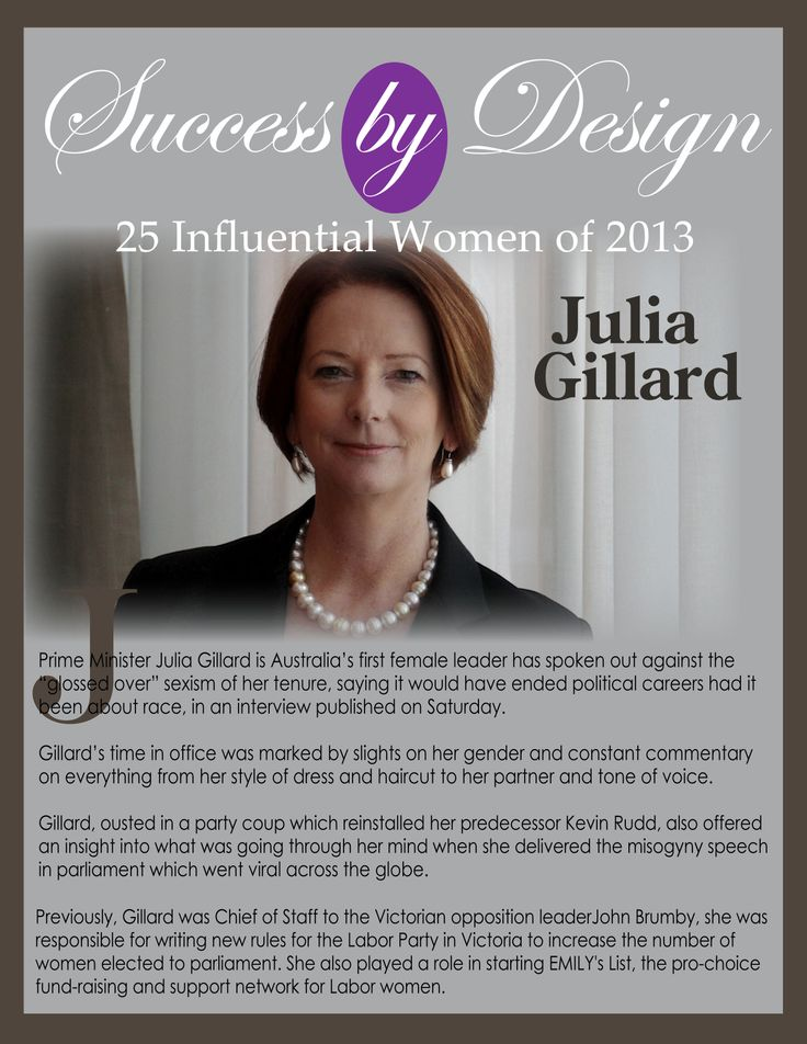 Julia Gillard, Former Prime Minister of Australia Silke Endress 25 Influential Women of 2013