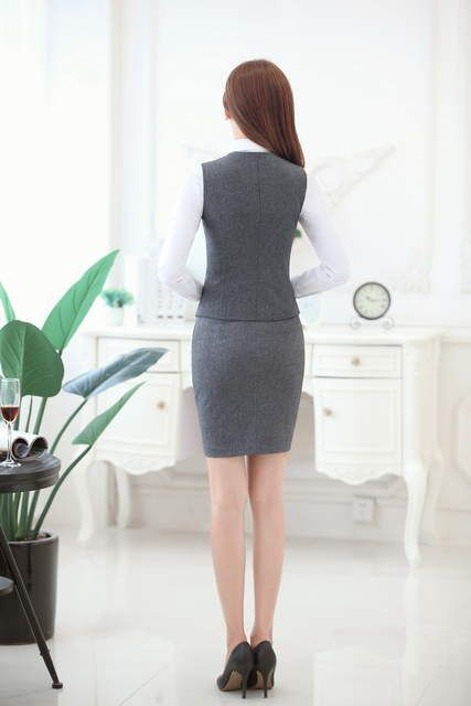 Trajes de negocios de moda para mujer con falda y chaleco conjunto de  Chaleco Ajustado ropa de trabajo para mujer ropa de oficina uniforme estilo  OL 9d8ff9dff7a8