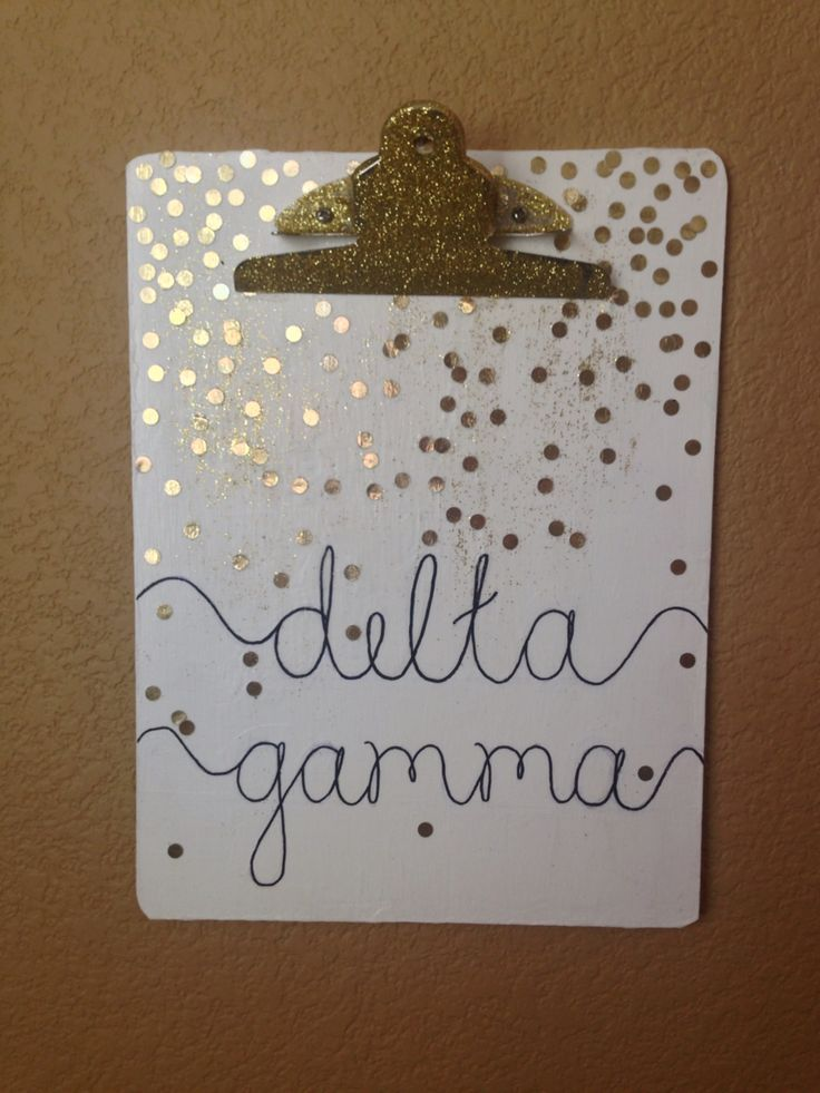 DIY Sorority Delta Gamma Clipboard Craft - gold dot confetti glitter white