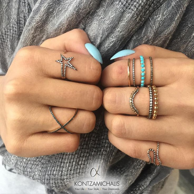 This fashionable stack of rings will give you a head start for the day.  #KontzamichalisJewellery  [photo by: @nailspapoland]