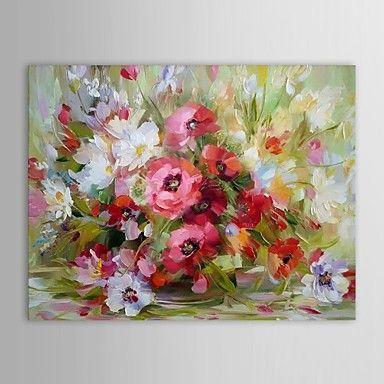 kézzel festett olajfestmény virágos csendélet váza virág feszített keret – EUR € 63.63