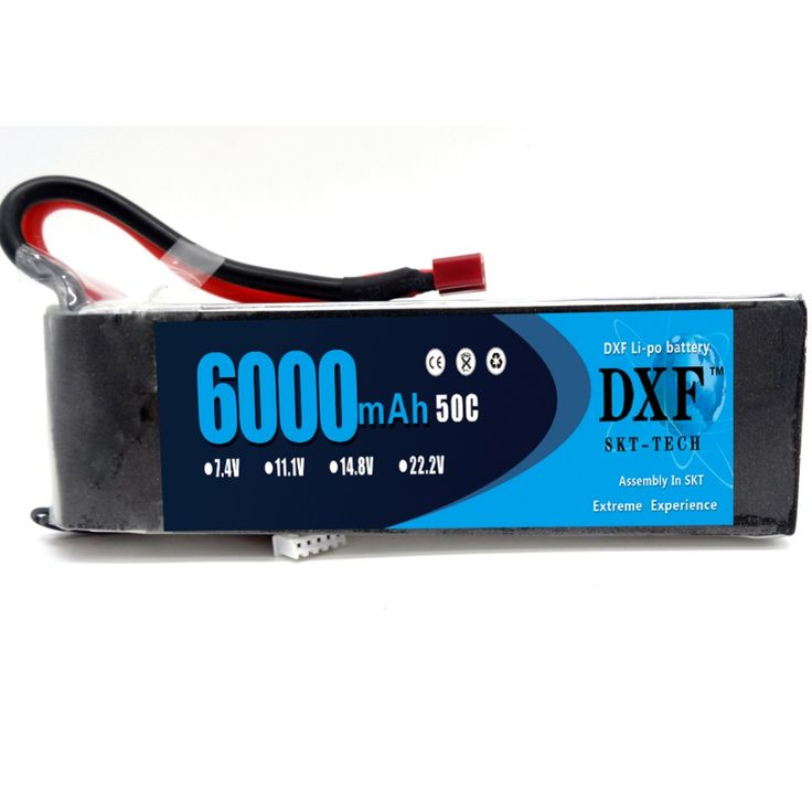 DXF 7.4V 6000mAh 2S Lipo Battery Pack 50C-100C for RC Cars Traxxas Slash HPI Truggy Trucks with XT60 Plug Connector (157*48*18mm
