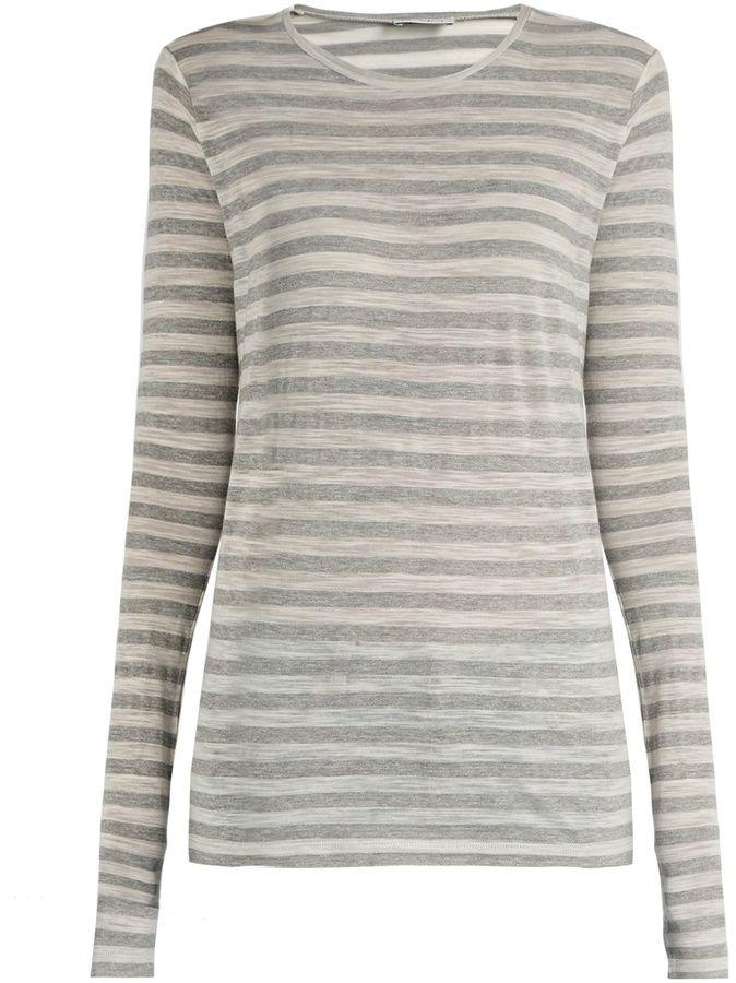 RAEY Long-sleeved sheer striped T-shirt