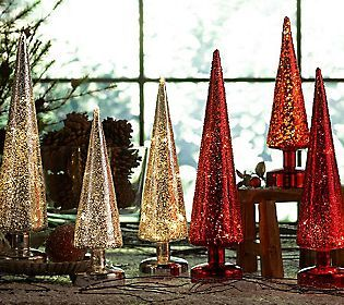 Bought these at work today    3-piece Lit Beaded Mercury Glass Trees w/ Timer by Valerie