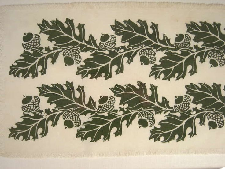 Oak and Acorns Hand Block Printed Folly Cove Print image 3