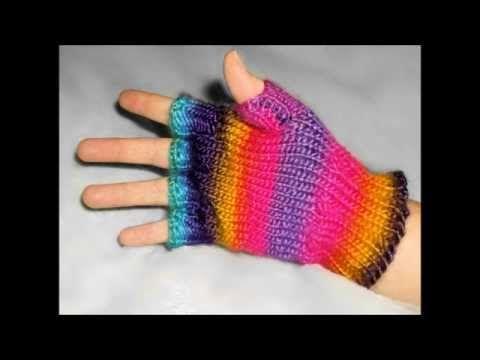 How to Loom Knit Fingerless Gloves - YouTube