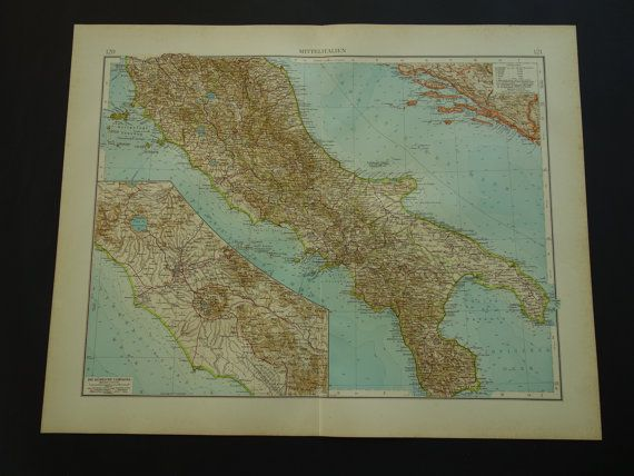 ITALY antique map 1910 old poster map of central by VintageOldMaps