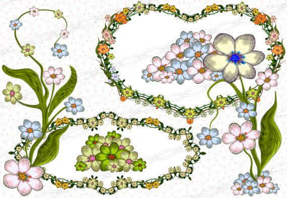 Digital scrapbooking floral clip art frames and borders pixel graphic design illustration - tools for designers - printable unlimited commercial use doodle flowers drawing - pink - blue - green - garland. https://www.etsy.com/listing/244994623/instant-download-300dpi-png-frame-plants?ref=shop_home_active_7