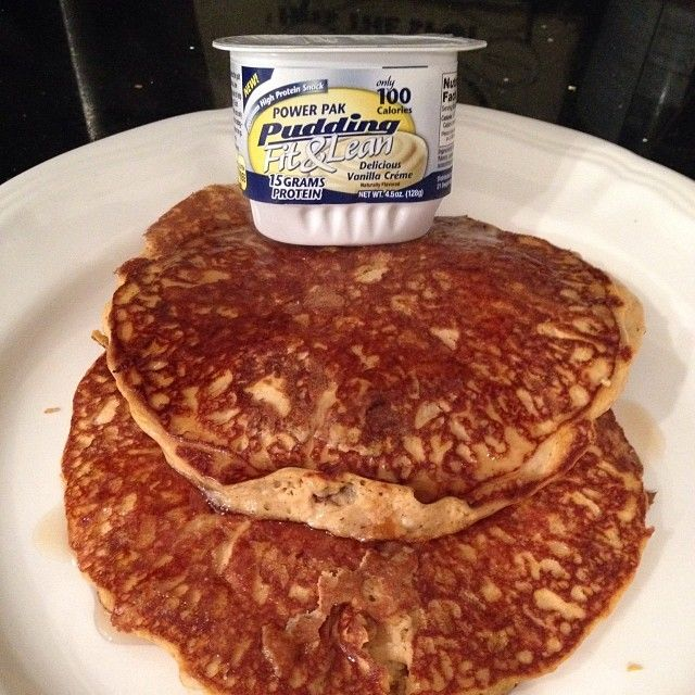 MHP vanilla pumpkin PB pancakes!! 1 MHP Fit n Lean pudding, 1 100-cal scoop vanilla protein powder, 1/4 pumpkin purée, 1 Tbs PB2 and 2-3 Eggwhites. Top with sugar-free syrup