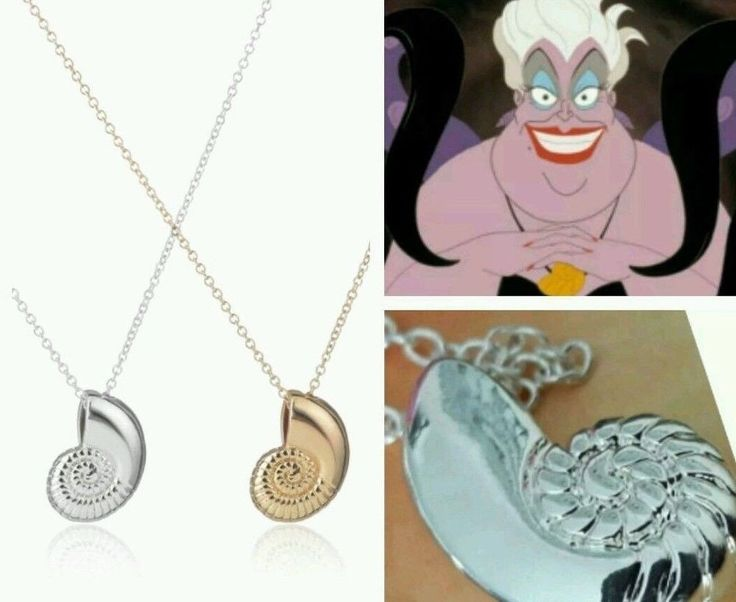 3d SHELL Necklace Silver gold voice Little Mermaid ursula sea witch charm new