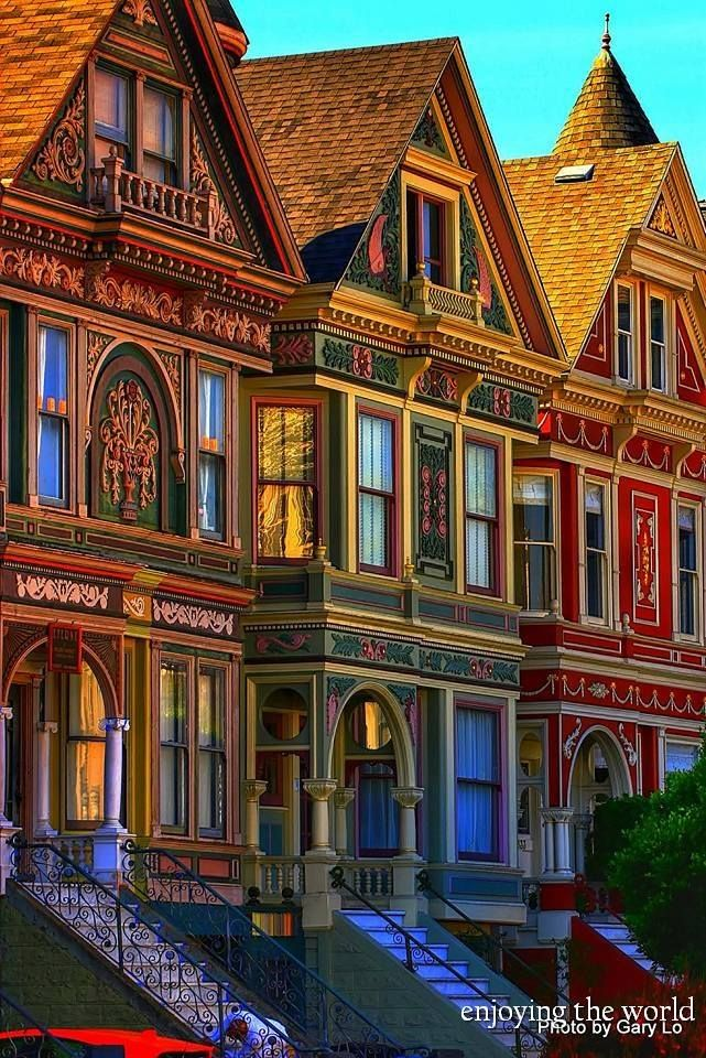 Victorian houses in San Francisco,California.
