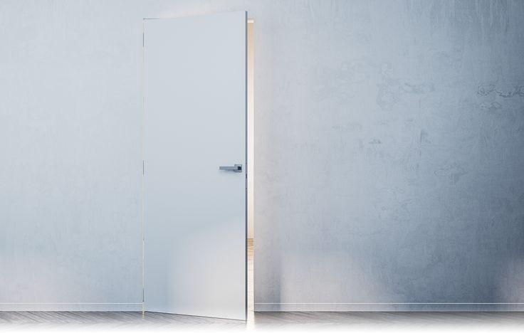 Porte battante à fleur de mur, invisible dans le mur