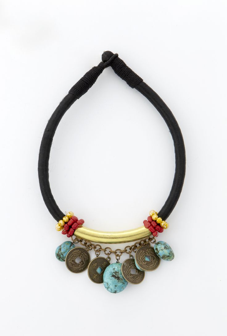 Necklace with turquise and chinese coins