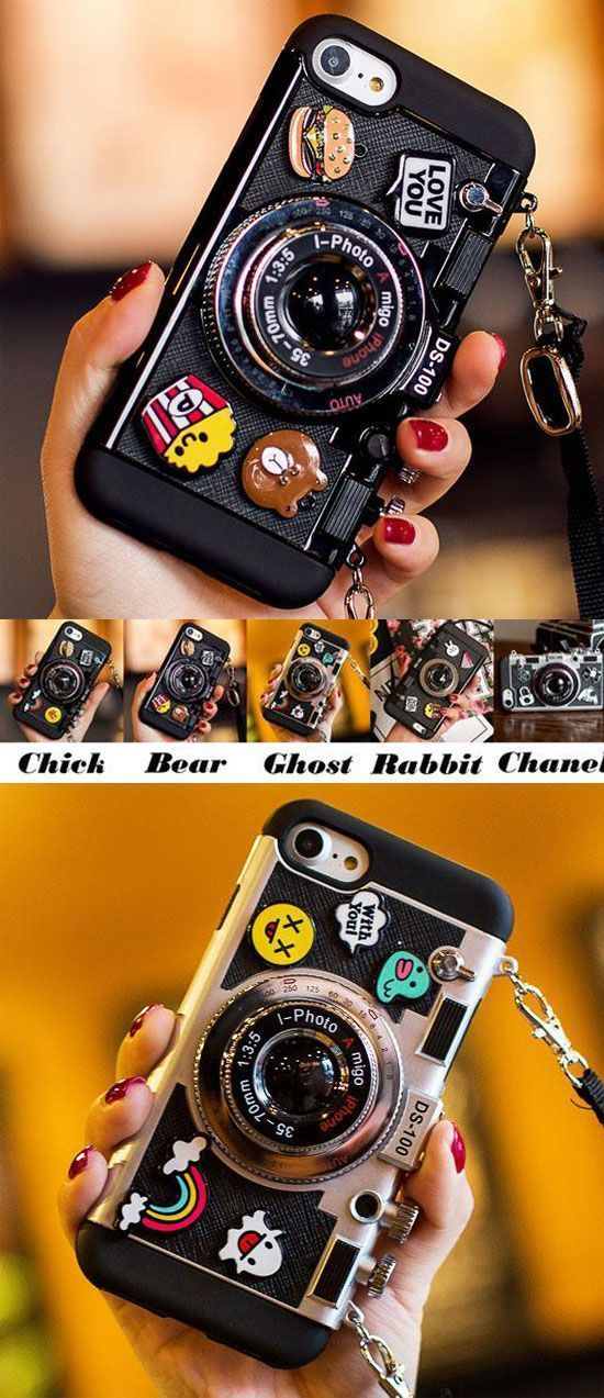 Creative Cartoon Camera Shape Stereo Rabbit Bear Chick Ghost Chanel Phone Case Iphone 6/6 plus/6s/6s plus/7/7 plus/8/8 plus/X Case for big sale! #Iphone #case #rabbit #chanel #iphone7pluscase