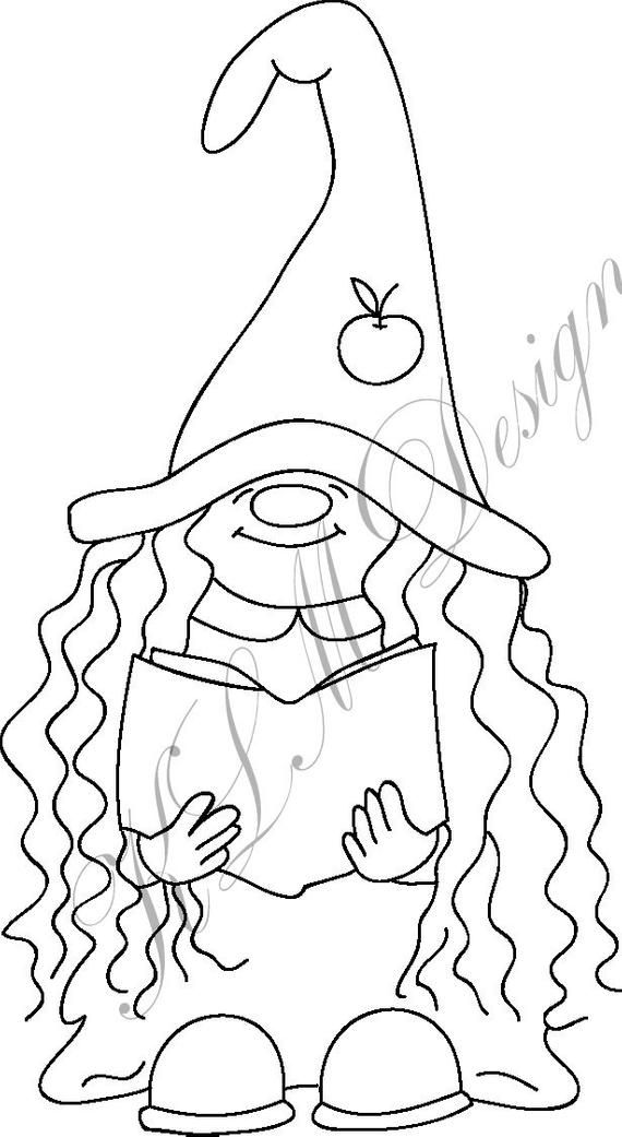 You Will Receive A Jpg Png File For Use As A Digital Stamp By Purchasing This Item You Are Bound To The Term Gnomes Crafts Coloring Pages Holiday Embroidery