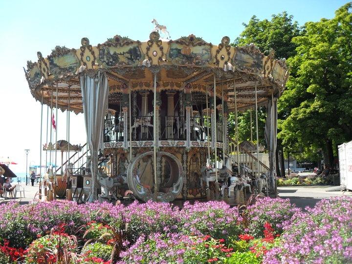 The antique carousel at Vevey. Switzerland.
