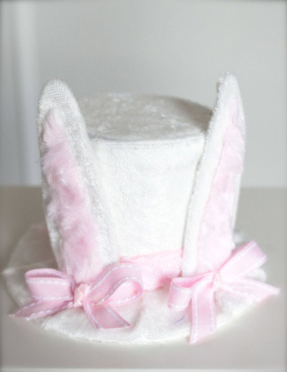 Easter Bunny Ears Mini Top Hat Headband (or fascinator) - Perfect Newborn or Easter Photo Prop or Alice in Wonderland Tea Party Mad Hatter