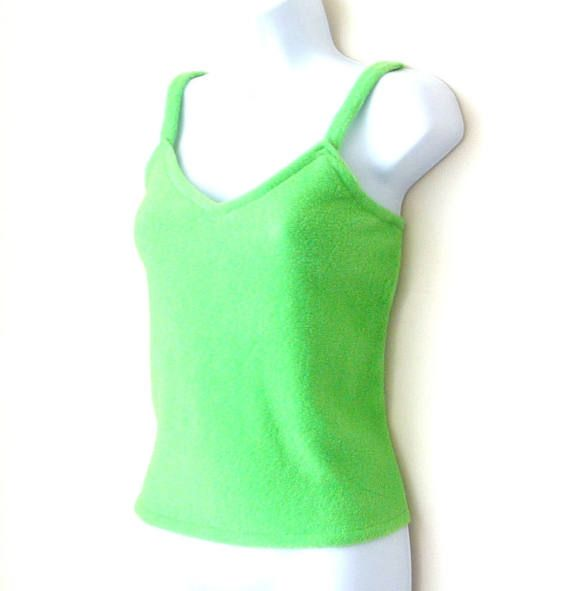 ☛paroliro original design for sale at www.etsy.com/shop/paroliro ~ size small bright spring green polarfleece fleece camisole top layer; minimalist, soft, fuzzy, warm; perfect for St. Patrick's Day; swimsuit coverup; [*Click on image for full details, exact measurements; 4 more photo views & worldwide shipping cost];$48☚