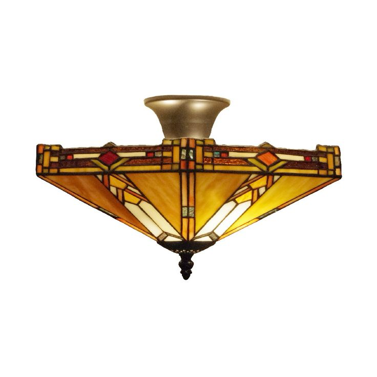 Prairie Tiffany Semi Flush Ceiling Light by Interiors 1900. Discover our Range, special offers of Tiffany Lamp, Art Deco and Traditional Lighting , free delivery.