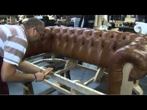 Timeless Chesterfield Sofa being made in their workshop... Really neat, gives me ideas on how to diy some of my own furniture repair/ updating.