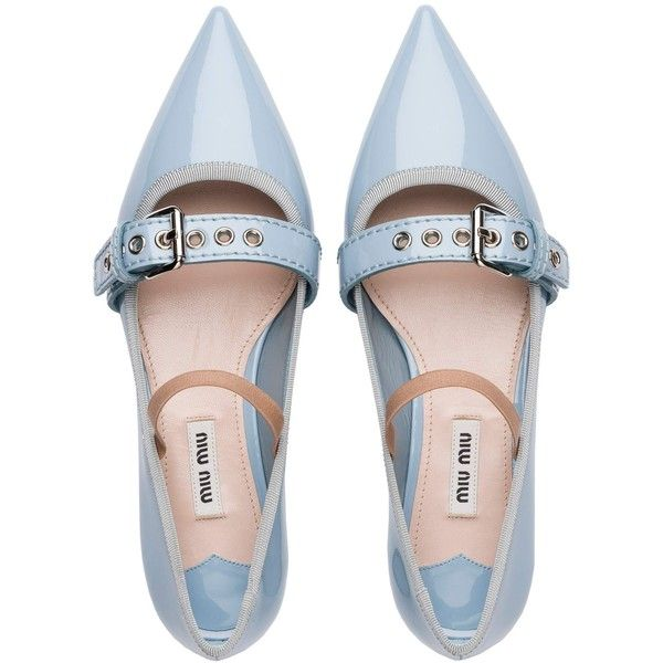 Miu Miu BALLERINA found on Polyvore featuring shoes, flats, обувь, flat shoes, footwear, strappy ballet flats, t-strap mary janes, t-strap flats, patent ballet flats and ballet shoes