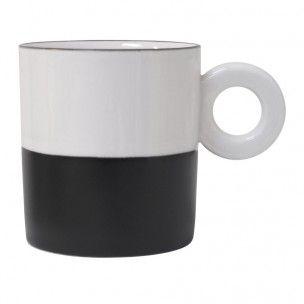 Tasse, Porzellan, Schwarz/Weiß, stapelbar, 6 EUR