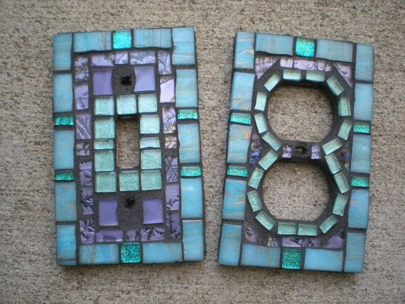 Mosaic outlet and switch covers.