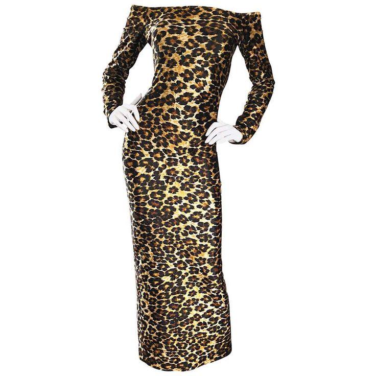 Patrick Kelly Vintage Sexy Leopard Print Off Shoulder Cheetah Dress, 1980s 1