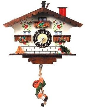 White Cottage and Swinging Boy Cuckoo Clock eclectic-clocks