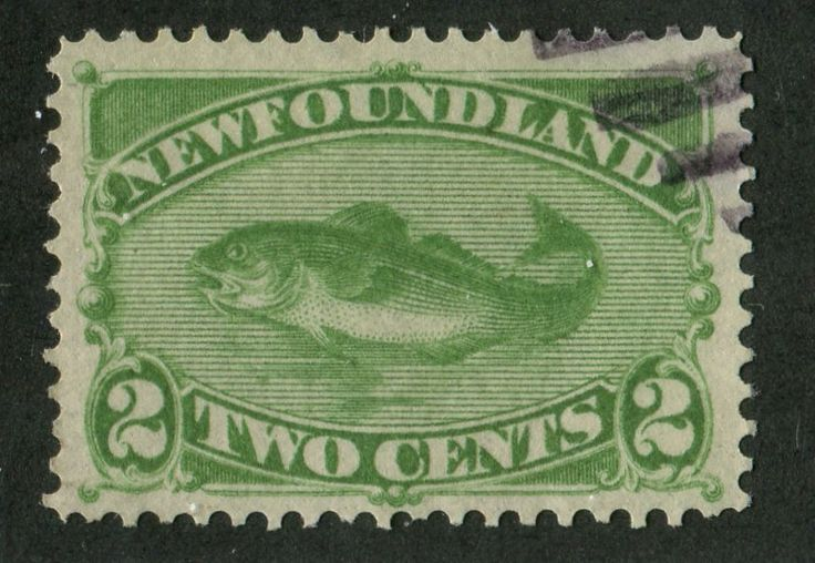 Newfoundland #46i 2c Deep Yellow Green Codfish 1880-97 Cents Issue - VF-80 Used