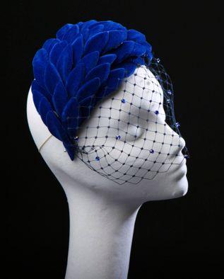 Carol Kennelly Millinery - Royal blue velvet leaves