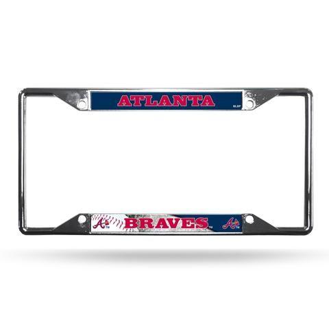 Atlanta Braves License Plate Frame Chrome EZ View | License plate ...