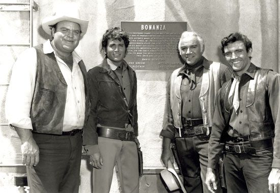 """Plaque erected June 24, 1968, on the """"Bonanza"""" sound stage thanking NBC and Paramount Pictures for making possible """"The World's most successful television show"""" on its 10th anniversary. Dedicated to producer David Dortort and (left to right) Dan Blocker, Michael Landon, Lorne Greene and David Canary."""