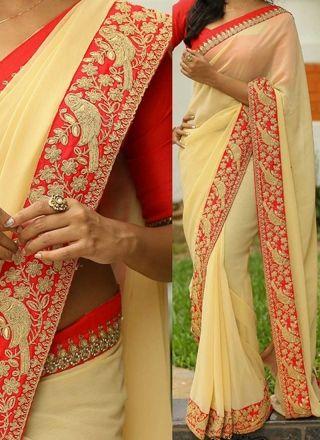 Cream Red Embroidery Work Designer Georgette Party Wear Fancy Sarees http://www.angelnx.com/Sarees/Designer-Sarees