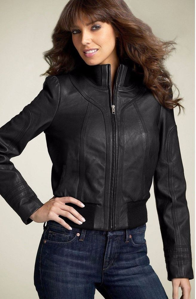 HINGE LEATHER BOMBER JACKET BLACK M MOTO $298 #HINGE #Bomber #Casual
