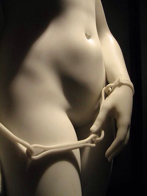 fragment of an amazing sculpture the greek slave by Hiram Powers (18051873)