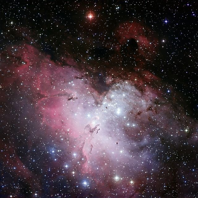 The Eagle Nebula is a young open cluster of stars in the constellation Serpens, discovered by Jean-Philippe de Cheseaux in 1745-46. Its name derives from its shape that is thought to resemble an eagle.