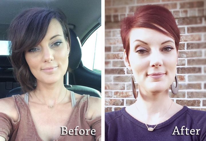 Alysia wanted a change, so she went from brunette to a red pixie. The end result by James screams Glam Queen!
