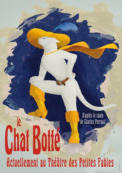 Affiche du Chat Botté (Puss in Boots) 1891 Blizzard; illustration avec les codes graphiques de Jules Chéret. © Le Chat à Botter