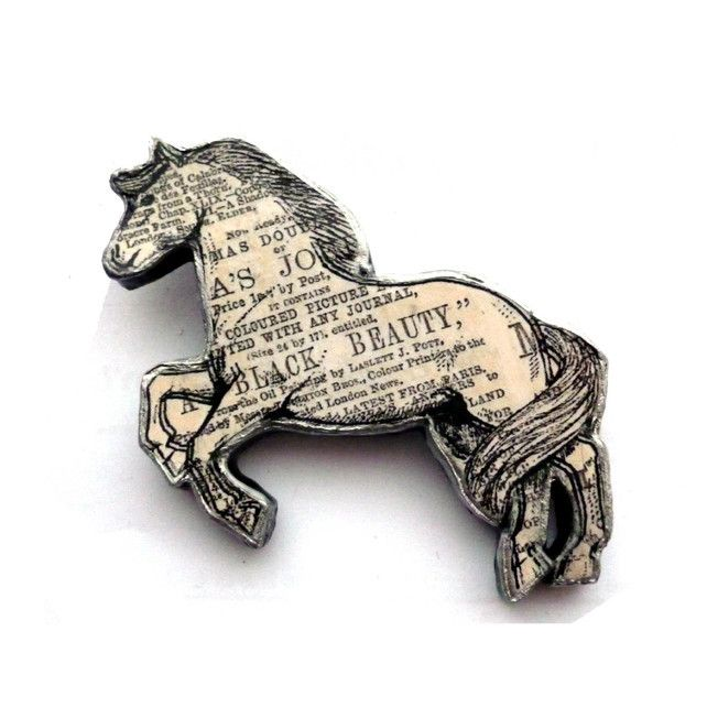 Black Beauty Horse literary Brooch by ellyMental Jewellery £13.00