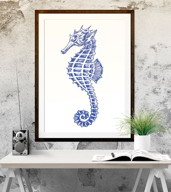Seahorse Print Bathroom Decor Wall Hanging by PrintableStyle