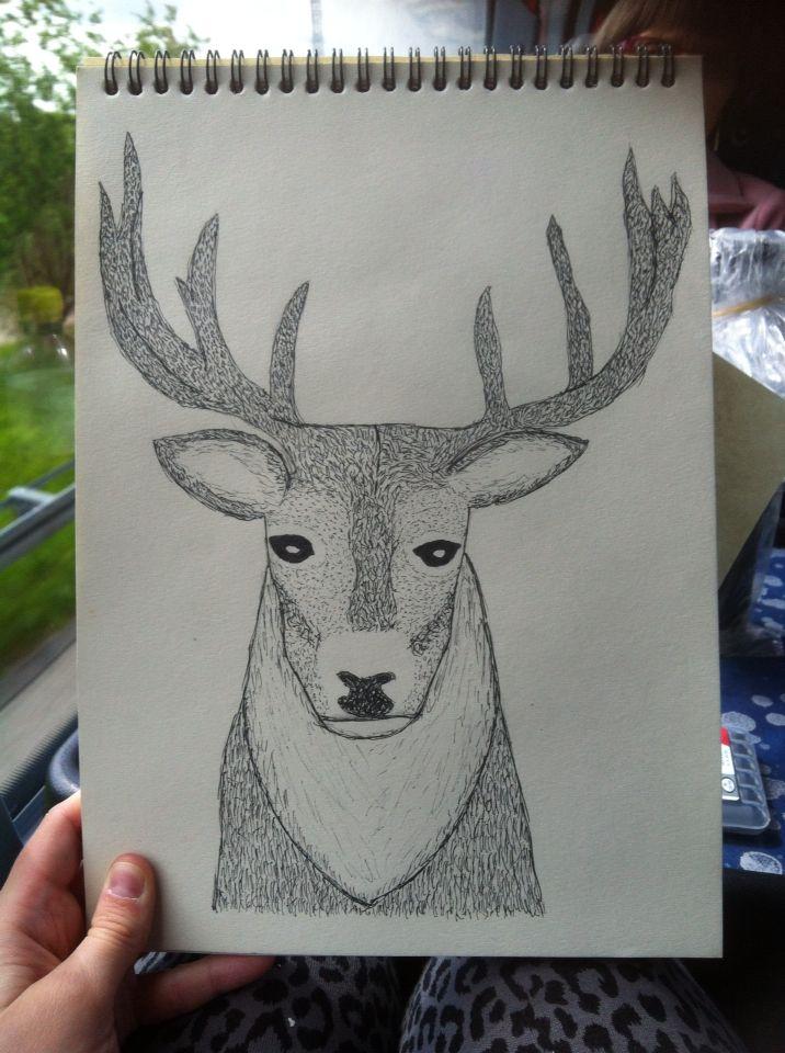 En kronhjort. Mit første store doodle projekt med stregtegning