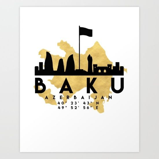 BAKU AZERBAIJAN SILHOUETTE SKYLINE MAP ART - The beautiful silhouette skyline of Baku and the great map of Azerbaijan in gold, with the exact coordinates of Baku make up this amazing art piece. A great gift for anybody that has love for this city. Contact me: digital@deificusart.com  graphic-design digital typography illustration vector baku azerbaijan downtown silhouette skyline map coordinates souvenir gold deificus-art