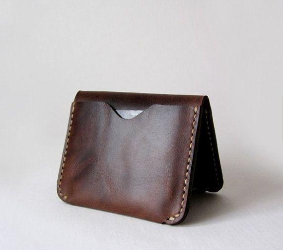Leather Card Case, Minimal Leather Wallet, Slim Card Holder, Men Women Cash Card Holder