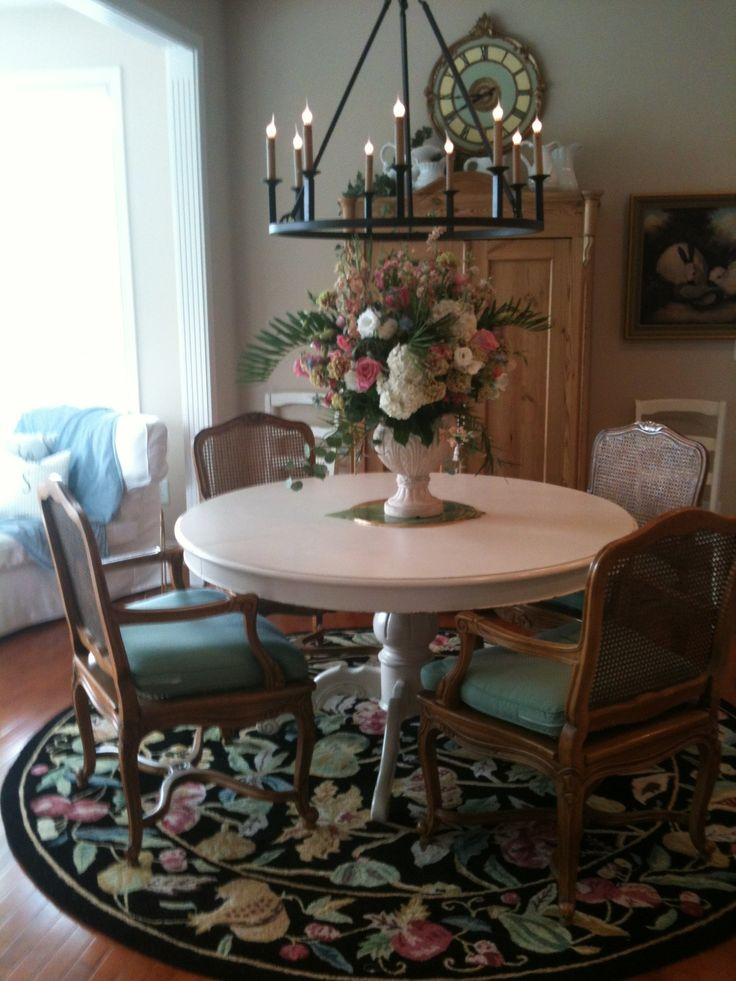 This French Country Dining Room Is Charming From The Rooster Rug,the Vase  Of Flowers