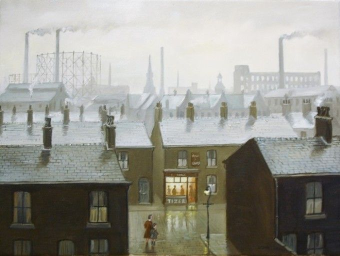 "Northern art: ""Chippy Tea"" by Steven Scholes..All his paintings are set at the same time of day - 4:15 pm in the afternoon!"