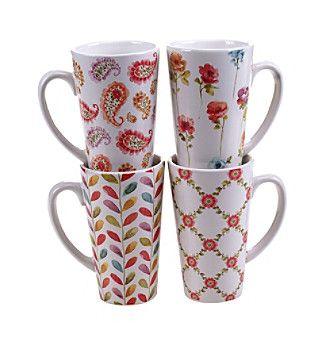 Certified International by Lisa Audit Rainbow Seeds Set of 4 Latte Mugs