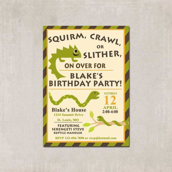 Printable Reptile Birthday Party Invitation with by PrettyPaperInk, $12.00