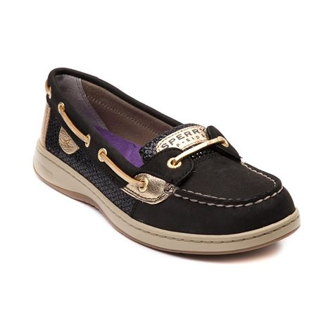 Shop for Womens Sperry Top-Sider Angelfish Boat Shoe in Black Gold at Journeys Shoes. Shop today for the hottest brands in mens shoes and womens shoes at Journeys.com.Classic Angelfish skimmer from Sperry, featuring a leather upper with wool-sequin side panels, top stitching on toe, and leather laces.